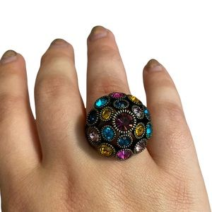 Multi-color Cluster Rhinestone Chunky Statement Ring Sz 7
